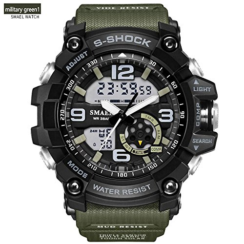 Mens Military Sport Digital Waterproof Watch Dual Electronic Quartz Movement Green Band With Back Light  Military1