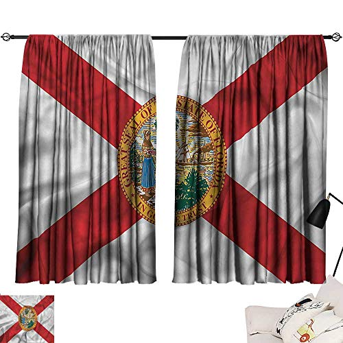 Adjustable Tie Up Shade Rod Pocket Curtain American,State of Florida Flowers 72