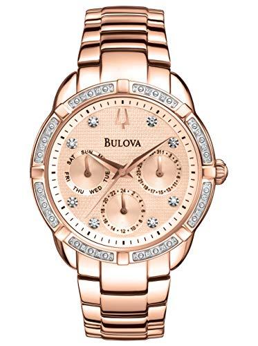 Chronograph Rose Gold Plated - Bulova 98W178 Ladies Diamond Rose Gold Plated Chronograph Watch