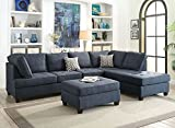 Poundex Bobkona Kemen Linen-Like Polyfabric Left or Right Chaise 2Piece SECTIONAL in Blue