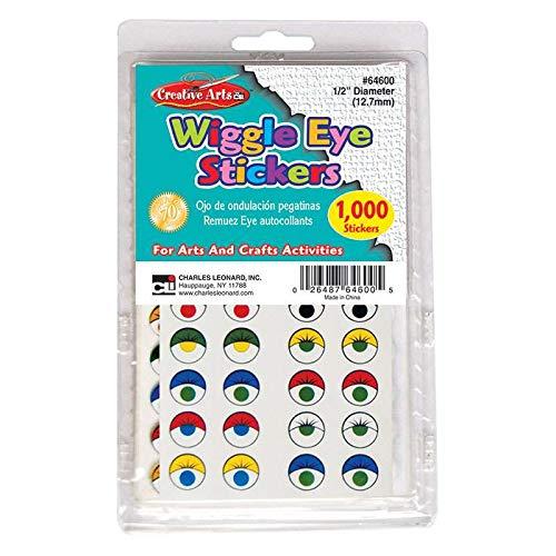 Charles Leonard CHL64600BN Wiggle Eyes Stickers, Assorted Color - Pack of 2