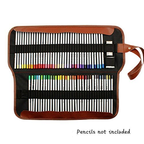 Yosoo Canvas Pencil Wrap, Estuche para 72Color lápices Caso Rollo Multiusos Bolsa para Escuela Oficina Art. Suave Lápiz...
