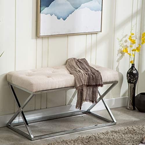 Andeworld Metal Base Ottoman Bench Tufted Upholstered Entryway Footstool Seat ()