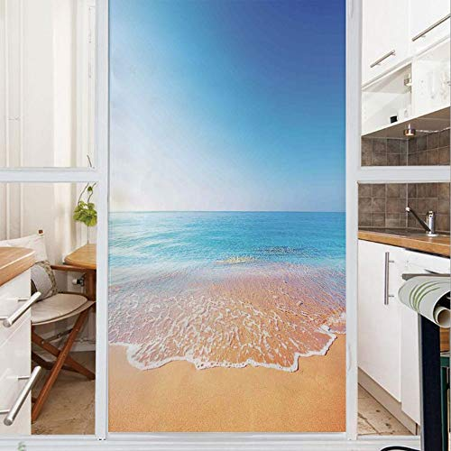 Decorative Window Film,No Glue Frosted Privacy Film,Stained Glass Door Film,Golden Beach and Tropical Sea Scenery with Endless Sky on the Back Summer Sun Peace Print,for Home & Office,23.6In. by 35.4I