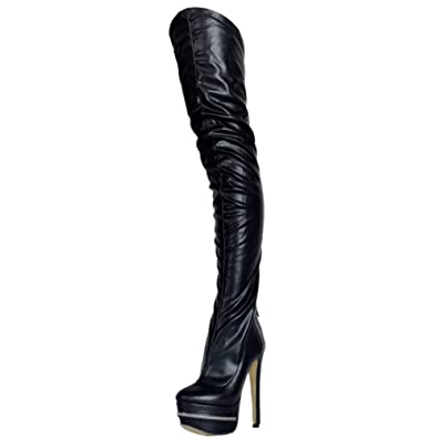 7235f26fdb1 SaraIris Women's PU Leather Platform Winter Zipper Thigh High Heel Over  Knee Boots Black