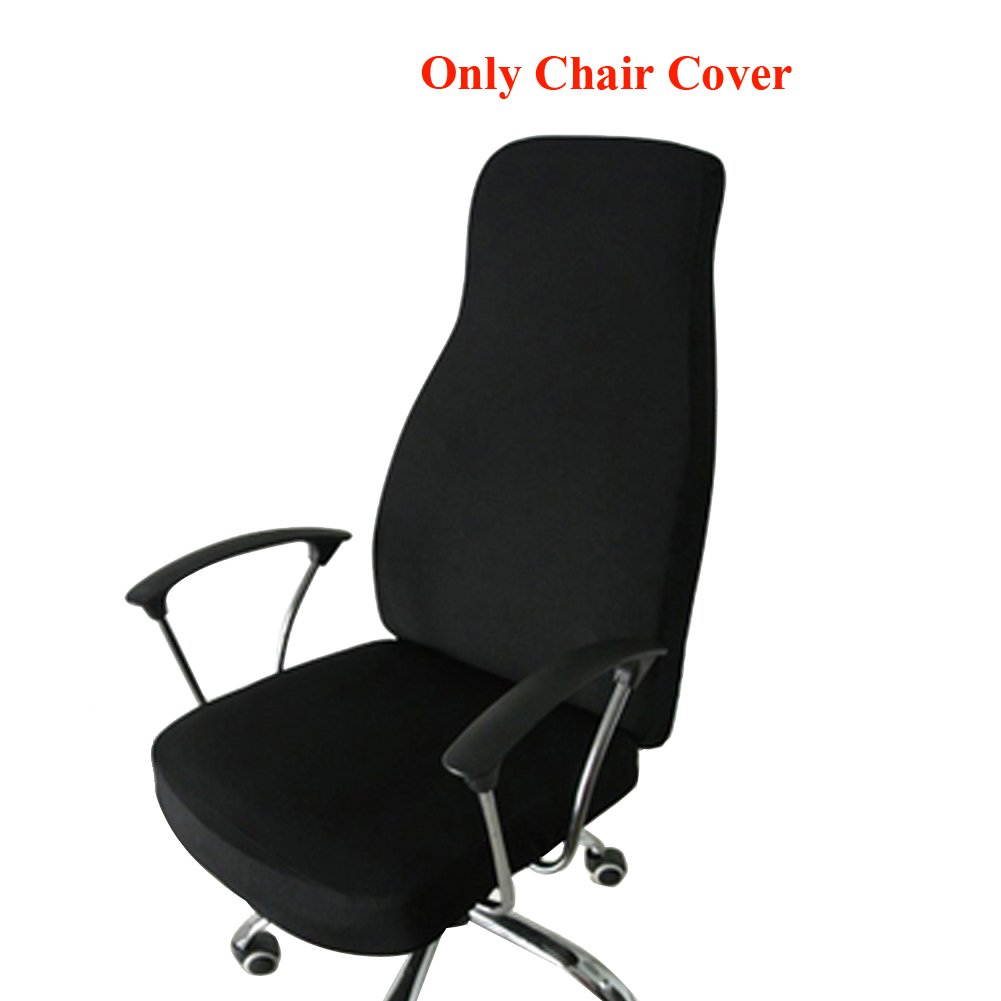 Ozzptuu Spandex Elastic Chair Cover Durable Pure Color Split Thin Section Chair Covers for Computer Office Desk (Black) by Ozzptuu
