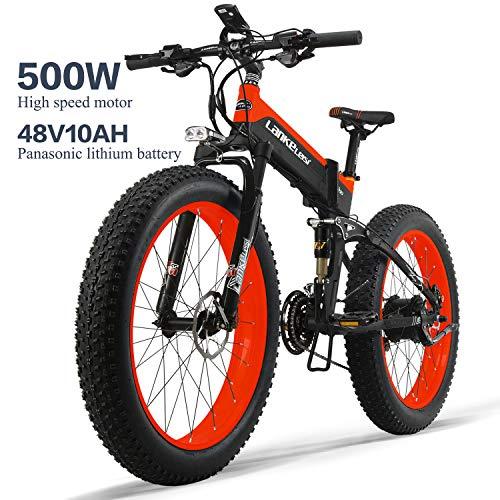 LANKELEISI XT750PLUS 48V10AH - Bicicleta eléctrica Potente de 500 W con neumáticos Gruesos Ebike de 26 Pulgadas y 4.0 Pulgadas, Bicicleta eléctrica Plegable de 27 velocidades, para Adultos y Mujeres
