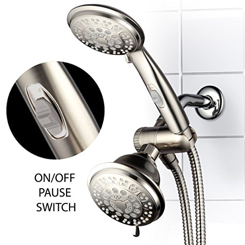 HotelSpa 42-Setting Ultra-Luxury 3 Way Shower-Head/Handheld Shower Combo with Patented On/Off Pause Switch by Top Brand Manufacturer (Brushed Nickel) - Brushed Nickel Shower Heads