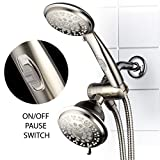 Dual Shower Head Combo HotelSpa 42-Setting Ultra-Luxury 3 Way Shower-Head/Handheld Shower Combo with Patented On/Off Pause Switch by Top Brand Manufacturer (Brushed Nickel)