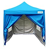 Quictent Waterproof 6.6×6.6′ EZ Pop Up Party Wedding Canopy Tent Commercial Gazebo Light Blue Pyramid-roofed Removable Sides With Roller Bag Review