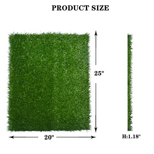"""Artificial Dog Grass Pee Pad 20""""x 25"""", Indoor Potty Training Replacement Turf for Puppy, Easy to Clean with Strong Permeability, 2-Pack"""