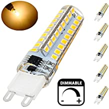 Bonlux 40 Watt G9 Halogen Replacement Bulb, Dimmable 5 Watt Bi-pin Base G9 LED Light, 360 Degree Silicone Coated G9 Crystal Corn Bulb - Fit for Bathroom, Kitchen, Bedroom Lighting (5, Dimmable 5W Warm White)