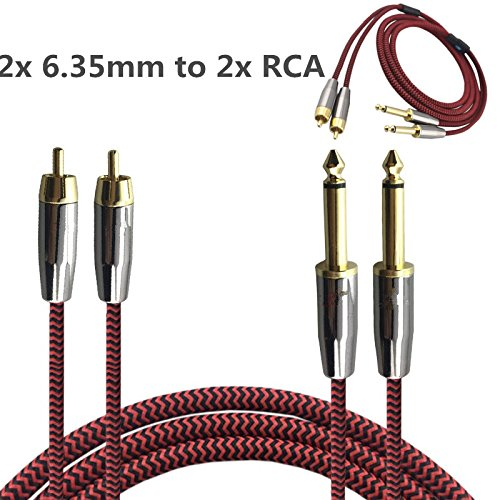 5 Professional Live Sound Console ([3m 10ft] Dual Mono Male 1/4 inch (6.35mm Jack) to Dual RCA Male Plug Nylon Braided Shielded Audio Cable [Gold Plated Connector,OFC Copper Conductor] 2 x RCA to 2 x 6.35mm)
