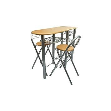 Anself Küchenbar Küchentisch mit 2 Stühlen und Regal Silber und ...