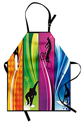 Sports Apron by Lunarable, Extreme Sports Depicting Silhouettes with Vibrant Colors Surfing Bmxing Snowboarding, Unisex Kitchen Bib Apron with Adjustable Neck for Cooking Baking Gardening, (Boarding School Costumes Tie)