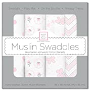 SwaddleDesigns Cotton Muslin Swaddle Blankets, Set of 4, Pastel Pink Butterfly Fun