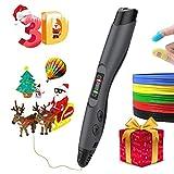 3D Pen,3D Drawing Printing Pen Kit with 2 Bonus(10Meter) PLA 1.75mm Filament Refills,for Crafting, DIY&Design,Non-Clogging Patented Nozzle,Black(X'Mas Package)