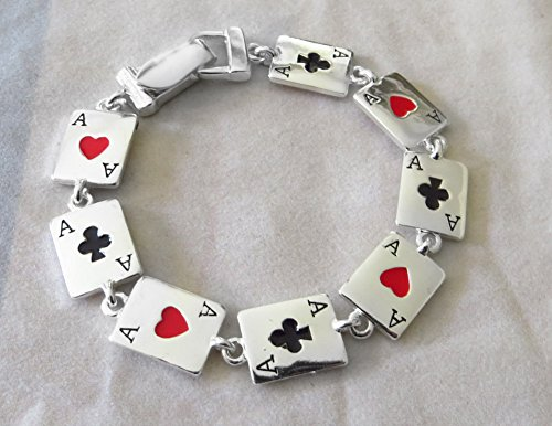 [Icon Collection Silver - Plated Poker Playing Cards Casino Bracelet] (Lucky Lady Casino Costume)