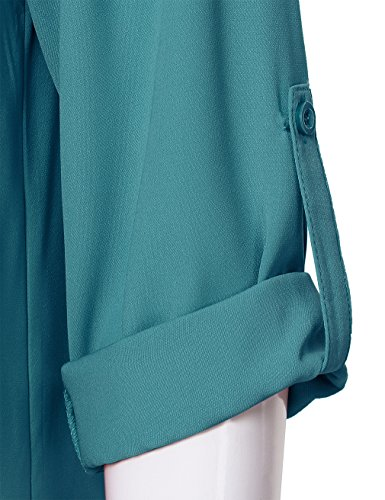 fc0105e4abe Bebonnie Women's Casual Front Pleated Chiffon Blouse Ladies Cuffed Sleeve Office  Tunic Tops