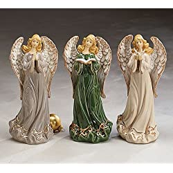 Set of 3 Large Angel Christian Decor Figurines in Grey, Green, and Cream Dresses