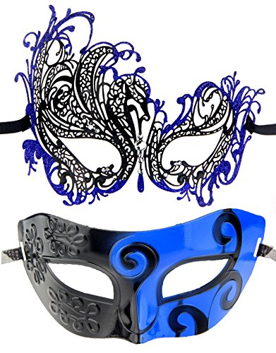 One Pair Couple's Gorgeous Venetian Masquerade Masks Party Costumes Accessory (Blue&Blue)