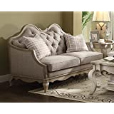 Acme Furniture ACME Chelmsford Beige Fabric and Antique Taupe Loveseat with 2 Pillows