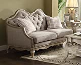 ACME Chelmsford Beige Fabric and Antique Taupe Loveseat with 2 Pillows