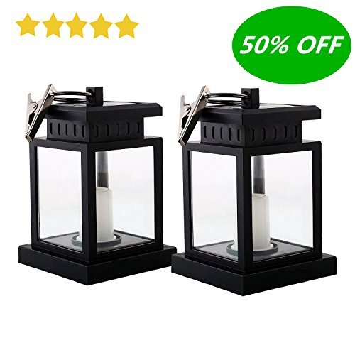 HKYH 2 Pack LED Solar Mission Lantern, Vintage Solar Powered Waterproof Hanging Umbrella Lantern Candle Lights Led with Clamp Beach Umbrella Tree Pavilion Garden Yard Lawn Etc. Lighting & Decoration