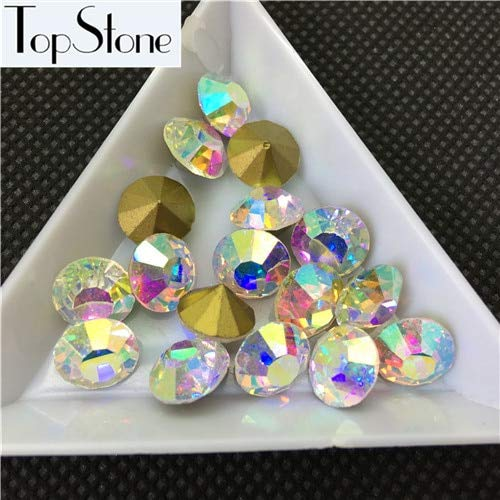 Calvas Wholesale All Sizes Clear/AB Crystal Beads Point Back Rhinestones Glass Chatons Strass ss4~ss45 Jewelry Making - (Color: Crystal ab, Item Diameter: 12ss 3dot1mm 1440pcs) (Crystal Point Back Rhinestone)