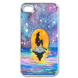 the Little Mermaid Ariel Galaxy Stencil Watercolor Drawing Rainbow IPhone 4/4s Cases, Kawaii Iphone 4s Case for Men Bloomingbluerose {White}