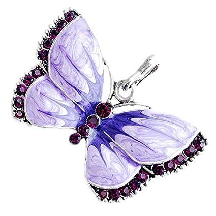 XiaoJing - Collar con colgante de mariposa de cristal para mujer ...