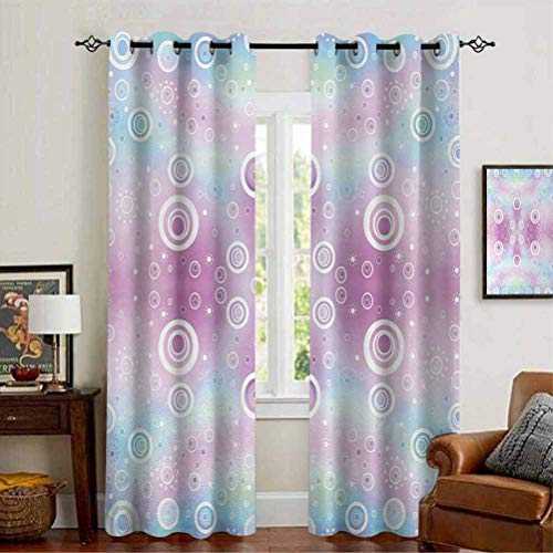 """Pastel Heat Absorbing Curtain for Nursery Whimsical Fantasy Pattern with Ring Shapes Dots Random Circles Dreamlike Pale Pink Aqua White 54"""" W x 108"""" L"""