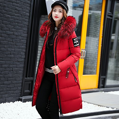 The Long Slimming Even Cotton Xuanku Clothing Winter red Cotton Autumn Is Women Down Collar Coat Cap Jacket Wool qX0gdw