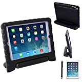 HDE iPad Air 1 Shock Proof Case Bundle for Kids Foam Bumper Cover Child Handle Stand + Stylus Screen Protector for Apple iPad Air 1 (Black)
