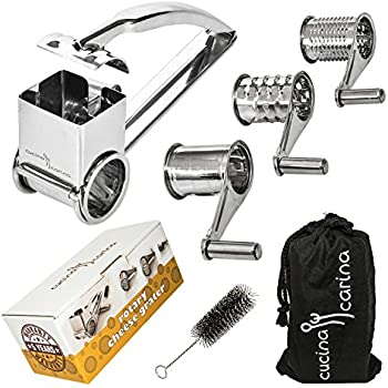 Stainless Steel ROTARY CHEESE GRATER - No More Shredded Knuckles! - Shredder, Slicer or Zester with 3 Metal Drums for Soft and Hard Cheese (Parmesan), Chocolate, Nuts, Vegetable or Fruits