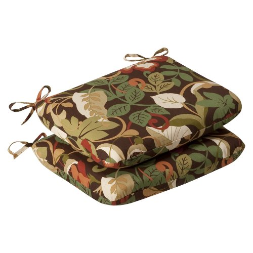 Pillow Perfect Indoor/Outdoor Brown/Green Tropical Seat Cushion, Rounded, 2-Pack