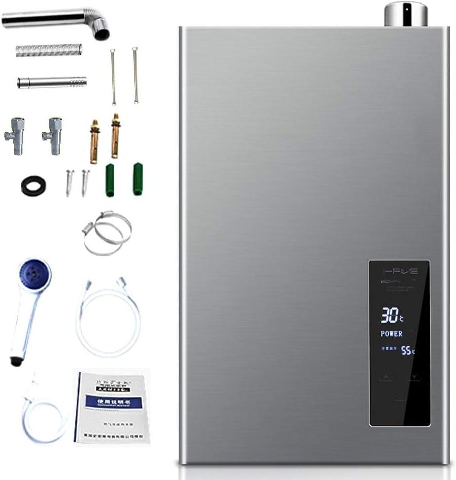 Stoge Calentador de Agua de Gas Natural de condensación 12L 24KW Caldera de Agua Caliente montada en la Pared con Pantalla LCD para el hogar 2000Pa-220V