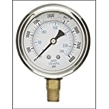 Liquid Filled Pressure Gauge, 2.5'' DIAL Display, Stainless Steel CASE, Brass INTERNALS, 1/4'' Male NPT Lower Mount Connection, Dual Scale PSI & BAR (0-4000) (Tamaño: 0-4000)