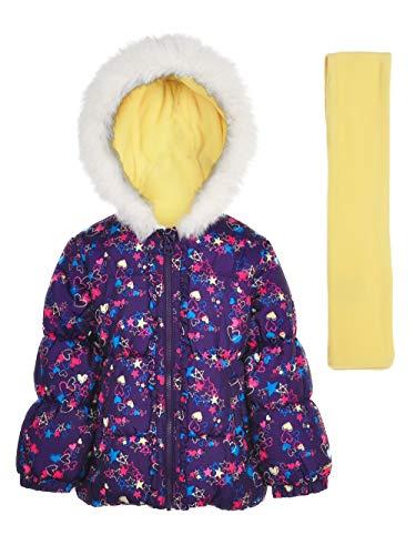 London Fog Little Girls' Winter Coat Hat Scarf, Deep Aubergine Heart/Stars, (Aubergine Apparel)