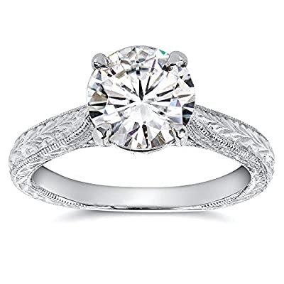 Antique Style Moissanite Engagement Ring with Diamond 1 1/2 CTW 14k White Gold