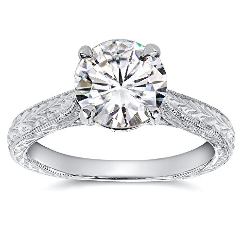 Antique Style Moissanite and Diamond Engagement Ring 1 1/2 Carat (ctw) in 14k White Gold