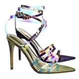 Aquapillar Clear High Heel Pointed Open Toe Iridescent Strappy Dress Sandal