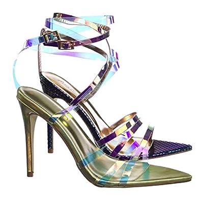 30eefe5aeda Aquapillar Clear High Heel Pointed Open Toe Iridescent Strappy Dress Sandal