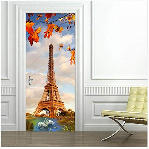 (Ymran Creative DIY 3D Wall Door Stickers Paris Tower Swan Lake Wallpaper Modern Living Room Restaurant Home Decor Decals 95X215cm)