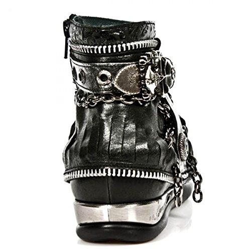 Nouvelles Bottes Rock M.hy101-c7 Gothiques Damen Punk Hardrock Stiefelette Schwarz