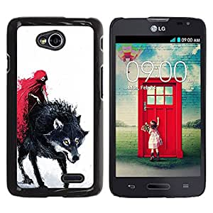 For LG Optimus L70 / LS620 / D325 / MS323 Case , Red Cape Riding Hood Death Werewolf - Diseño Patrón Teléfono Caso Cubierta Case Bumper Duro Protección Case Cover Funda