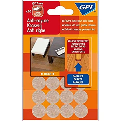 GPI - 019259 - Patines fieltro lana para suelos lisos diámetro 17 mm ...