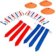 Play Platoon 14 Player Flag Football Deluxe Set - 14 Belts, 42 Flags, 12 Cones & 1 Mesh Carrying Bag for F