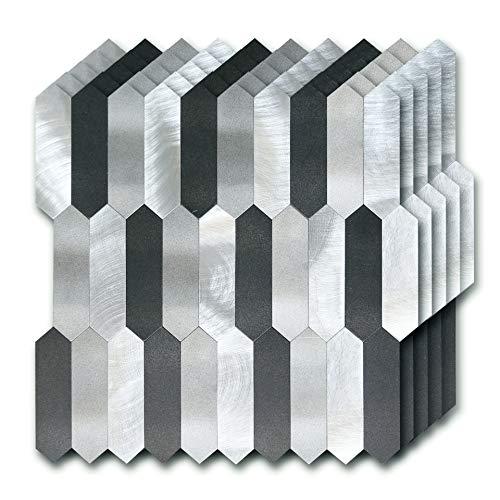 Tile Decorated - STICKGOO Peel and Stick Backsplash Tile, Metal & PVC Kitchen Backsplash, Diamond Tiles Decorated Shower & Fireplace (Pack of 5, Non-Magnetic)