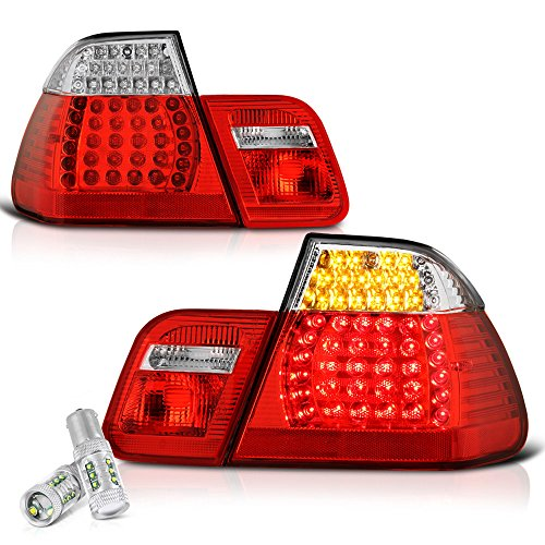 VIPMOTOZ M3 Style Red Lens Chrome Housing LED Tail Light Lamp Assembly For 2002-2005 BMW E46 3-Series LCI Facelift Sedan - CREE LED Reverse Bulbs Included, Driver & Passenger Side
